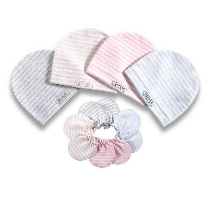 2 יח'\סט פשוט יילוד לתינוק לידות כפפת סט רך כותנה ילדים תינוקות נגד שריטות כפפות כובע מתנות