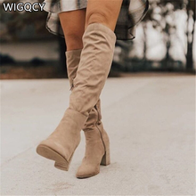 New for 2020 Sexy High Heel Lace Up Knee High Boots Women Lace Up Winter Boots Keep Warm Fashion Women Boots botas de mujer W590
