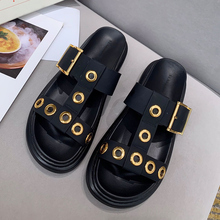 British starbagMCQ counter new flat bottom slippers with rivets, top grade cowhide, comfortable star, same type of women's shoes