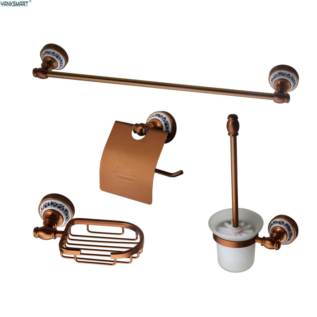 Bathroom Accessories 4 Pcs Set Gold & Rose Gold Wall Parts Towel rod, , Soap rack,hook up,Toilet Brush Kit Banheiro