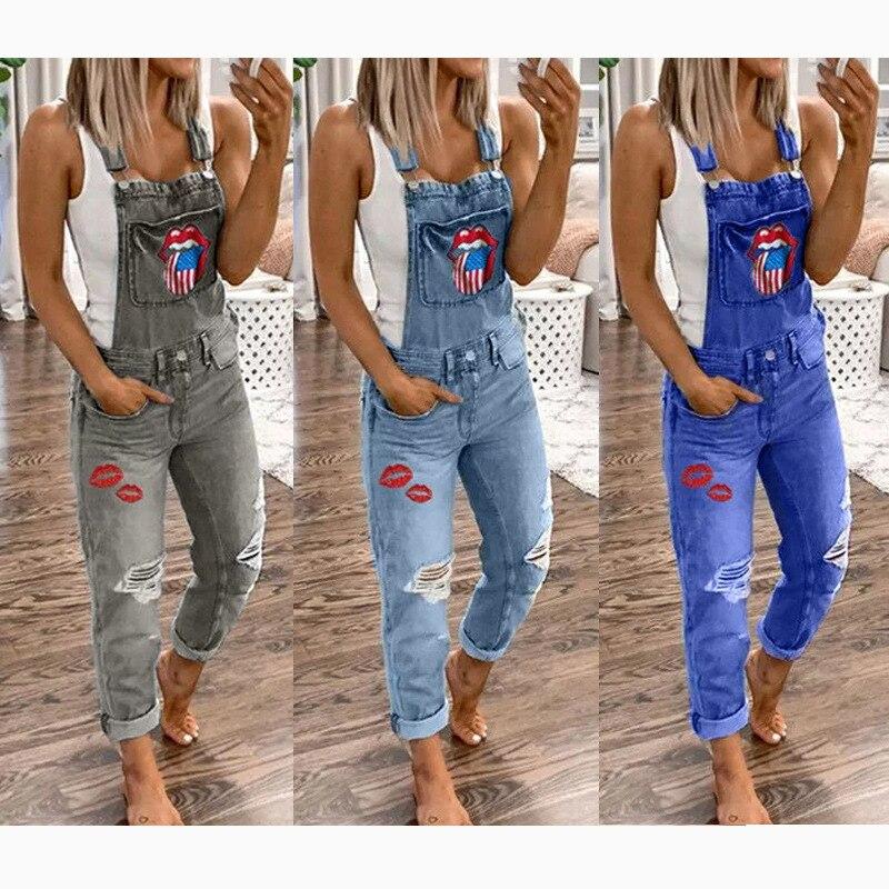 Women elegant Hole Denim Jumpsuit Romper Long Trousers Overalls Straps Jumpsuit S-5XL ladies Casual Loose plus size jumpsuits