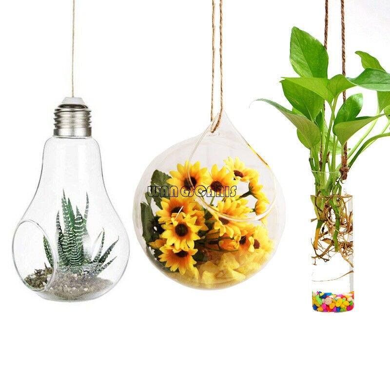 Transparent Clear Glass Flower Plant Stand Hanging Vase Planter Terrarium Container Home Garden Office Decor