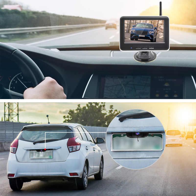 Accfly bezprzewodowy samochód Dvr widok z tyłu kamera cofania Parking płyta cam z 4.3 cal Monitor Lcd TFT na zdjęcie samochodu, który