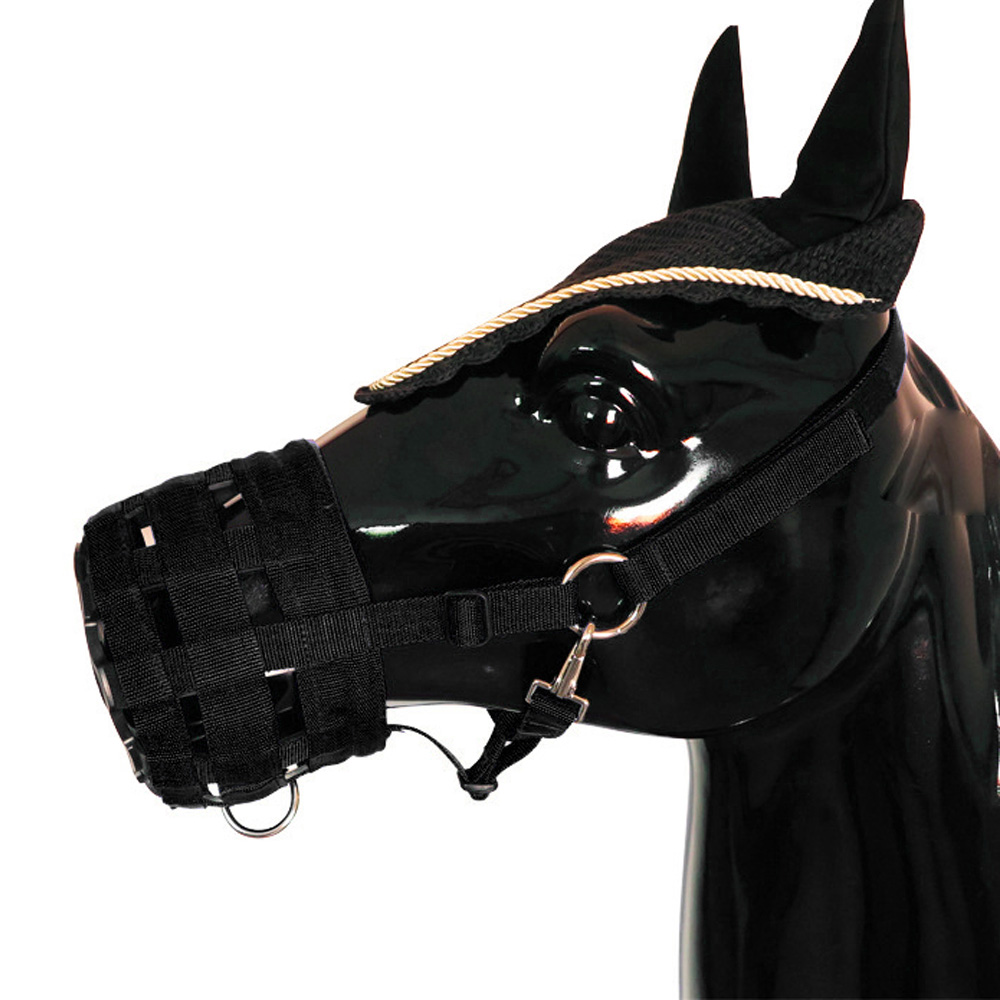 Adjustable Horse Mouth Cover Breathable Pony Nylon Grazing Muzzle With Halter Under Chin Head Collar Horse Riding Equipment
