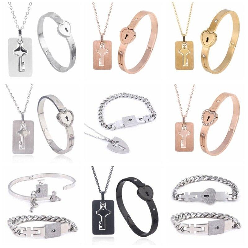 Парные ювелирные изделия для влюбленных браслет с замком в виде сердца браслеты из нержавеющей стали браслеты с подвеской в виде ключа ожер...
