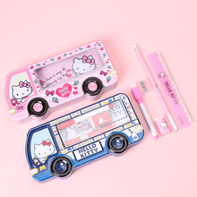 TOPSTHINK Hello kitty pencil case metal bus box with white board pencils stationery set