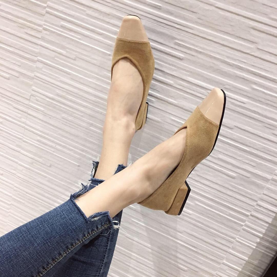 Olympique MIKE chaussures à talons épais femmes 2019 automne et hiver nouveau Style coréen-style mode femmes chaussures daim carré tête basse