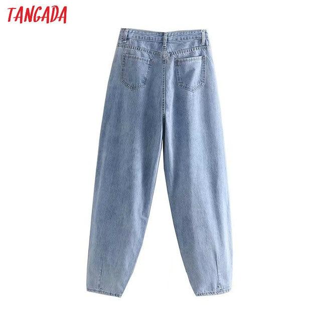 Tangada fashion women loose mom jeans long trousers pockets zipper loose streetwear female blue denim pants 4M38 5