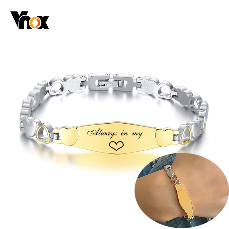 Vnox Personalize Engraving ID Bar With Heart Chain Bracelets For Women Men Unisex Custom Anniversary Gifts Jewelry
