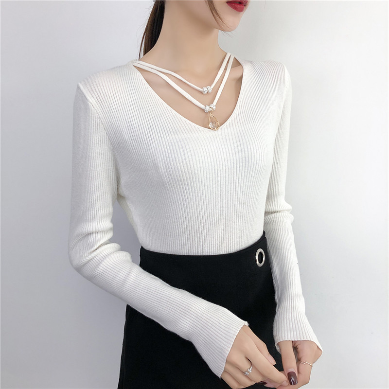 Gkfnmt Korean Pullover Sweaters Women Knitted Long-Sleeve Sexy Solid-Streetwear V-Neck