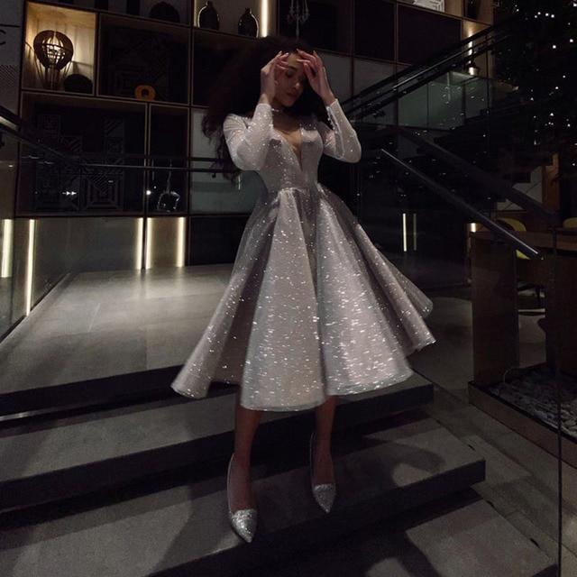 SoDigne Sparkling Evening Dress 2021 robe longue V- neck Long Sleeves Medium Length Wedding Party Dress Prom Gowns 6