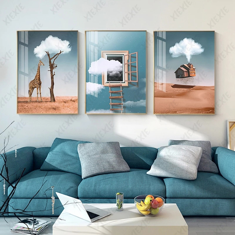 Creative Cloud Tree Poster Skylight Ladder Canvas Painting Giraffe Art Wallpaper Craft Print Picture Decorate Home Bedroom