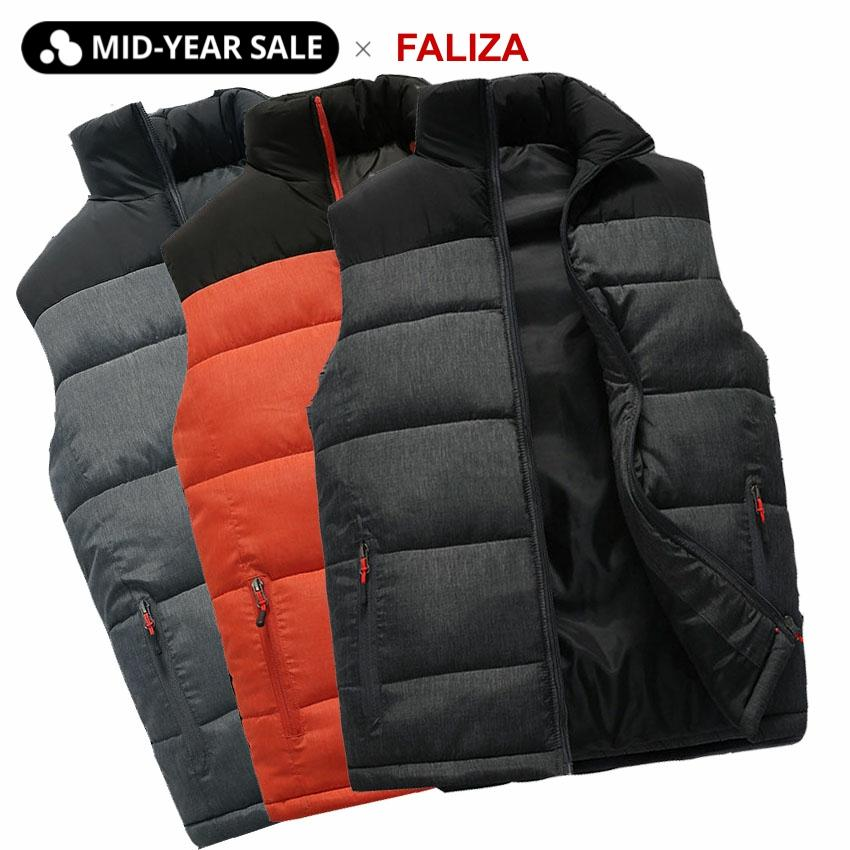 FALIZA New Mens Jackets Sleeveless Vest Winter Men's Warm Down Vest Homme Casual Thicken Waistcoat Chalecos Para Hombre 5XL MJ-M