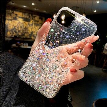Étui de téléphone à paillettes pour iPhone 11 Pro X XS Max XR SE 2020 housse en silicone souple pour iPhone 7 8 6 6S Plus étui Transparent Capa