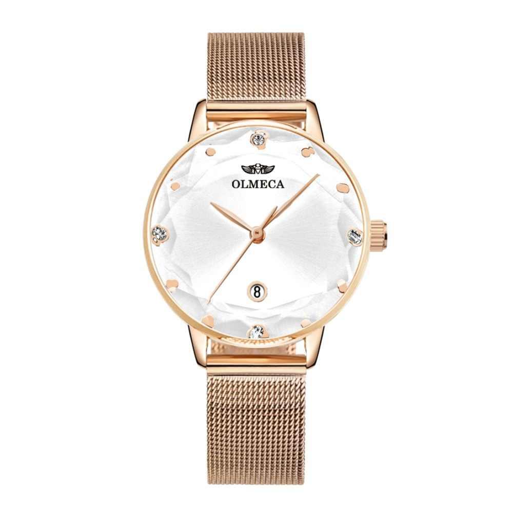Spor kadın saatler OLMECA lüks marka İzle elbise Reloj Mujer su dayanıklı saat kol saati Milanese bilezik saat kayışı