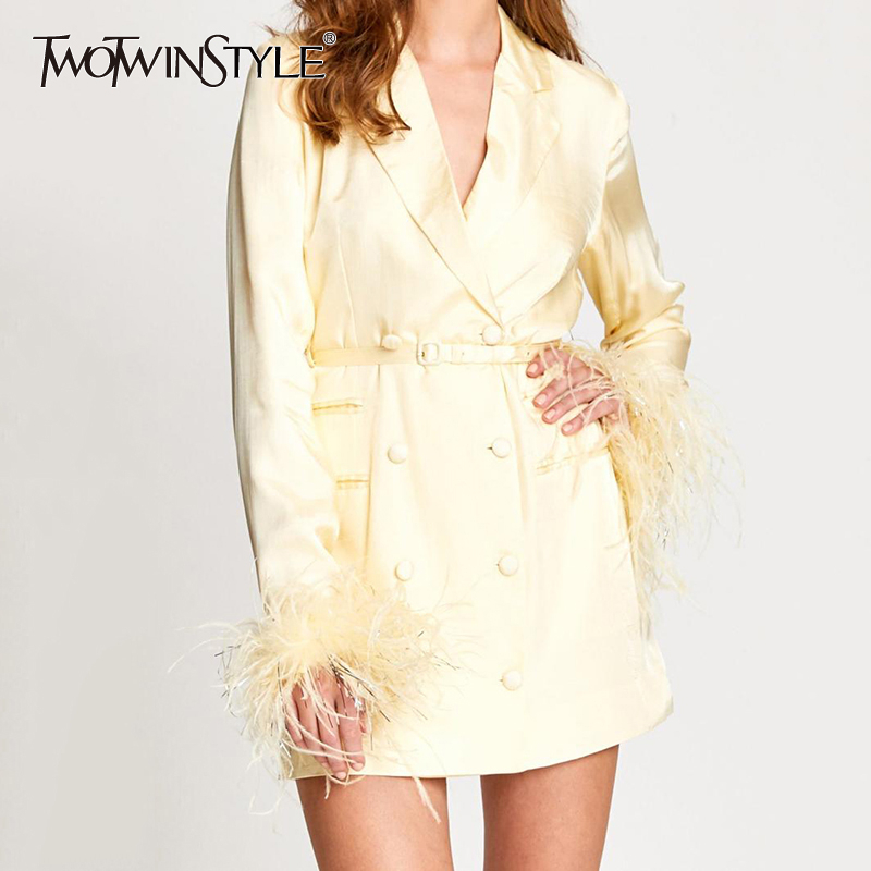 TWOTWINSTYLE Patchwork Feathers Women's Windbreaker Notched Long Sleeve Double Breasted Tassel Female Coats 2019 Autumn Fashion