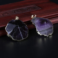 gold angular cutted natural violet lilac purple amethyst stone pendant choker necklace diy jewelry findings accessory(China)
