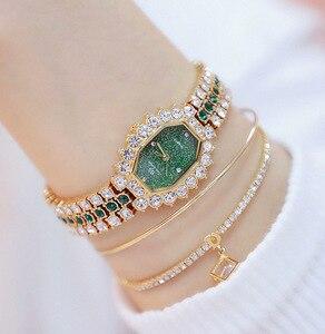 Image 1 - Montre Bracelet pour femmes, marque de luxe, petite robe, diamant, strass, 2020