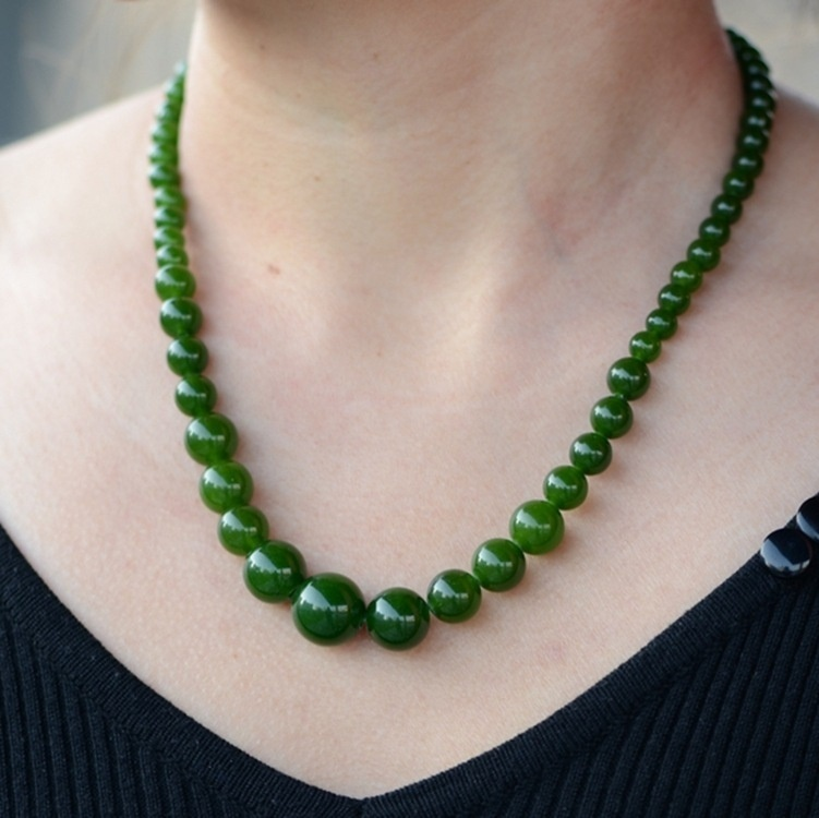 Jade Green Jade Round Bead Necklace Chain Green Necklace Towers Chain