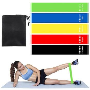 5 pcs / set band rintangan dengan 5 tahap rintangan berbeza yoga band home gym latihan peralatan kecergasan latihan pilates