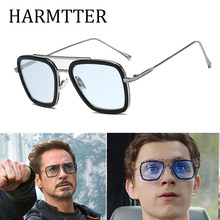 luxury Fashion Avengers Tony Stark Style for women Sunglasses Men Square Brand Design Sun Glasses Oculos Retro male iron Man(China)
