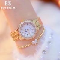 Damskie zegarki z diamentami 2018 moda luksusowa marka kobiet zegarek kryształowy złoto kobiet zegarki na rękę ze stali nierdzewnej Relogio Feminino w Zegarki damskie od Zegarki na