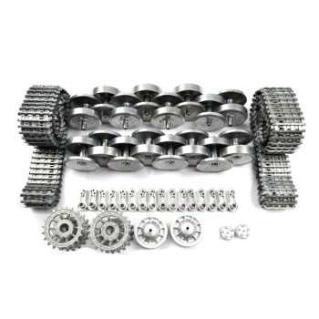 Metal Silver Tracks Sprockets Early with Metal Caps Idler Wheels with Bearings for Heng Long 3818 3818-1 1/16 1:16 RC Tiger 1 Ta