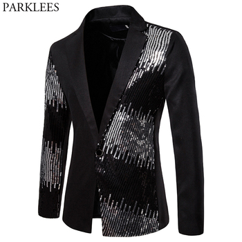 Stylish Sequin Patchwork Black Suits &Blazer Men 2019 Brand New One Button Slim Fit Blazer Male Party Stage Prom Costume Homme - discount item  50% OFF Suits & Blazer