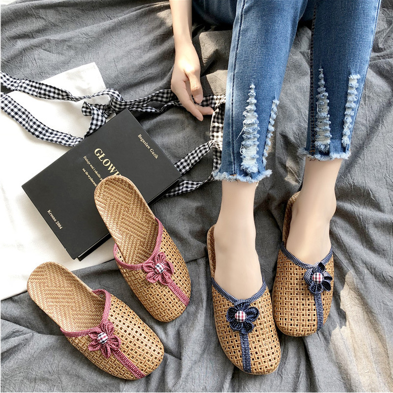 Summer Home Women Indoor Slippers Cane Weaving Breathable Flower Round Toe Thick Sole Flats Ethnic Casual Ladies Shoes Family