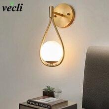 Lámpara de pared LED minimalista nórdica, lámparas clásicas de pared de cristal para cabecera de baño, iluminación artística de Interior para pasillo de escalera