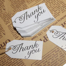 Kraft Paper Gift Tag With Thank You Character Trapezoidal Listing 100Pcs Diy Craft Label Wedding Party Decoration(China)