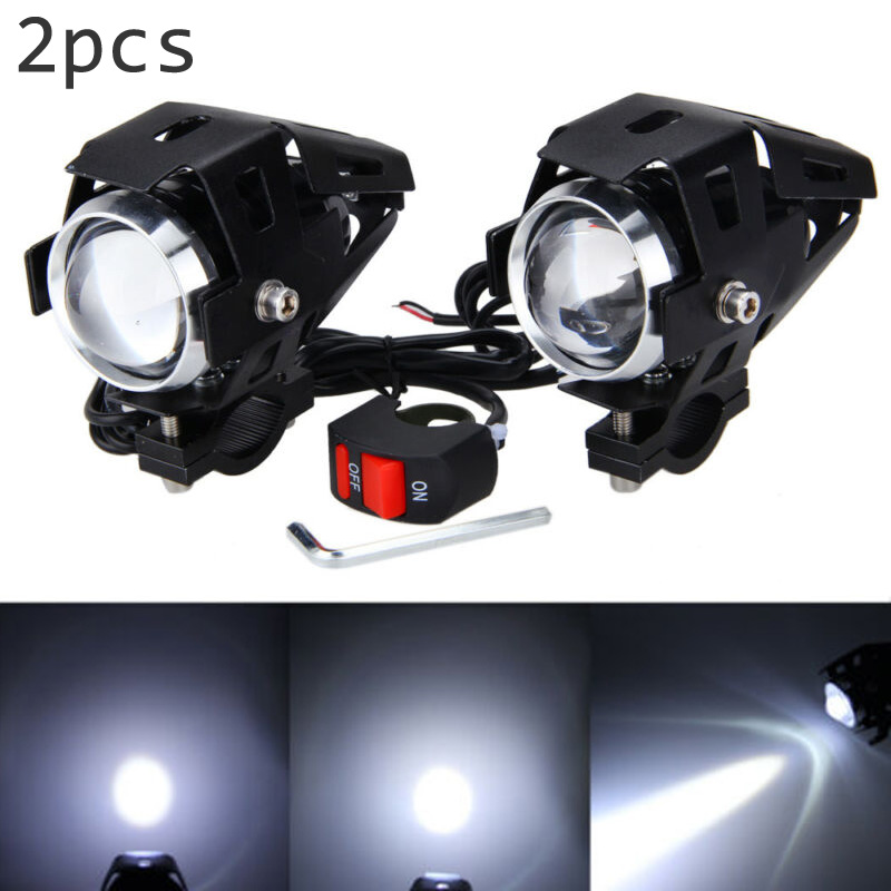2pcs Set Scooter LED Fog Light Bulb 15W Driving Super Bright Switch Indicator ABS Headlights Automobiles Motorcycles Parts