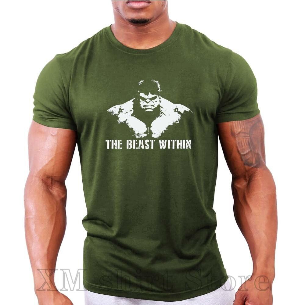 Canavar içinde Hulk erkek vücut geliştirme spor egzersiz spor 2020 yaz tarzı marka Casual o-boyun erkek baskı T shirt