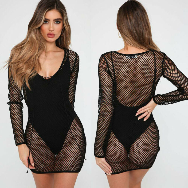 Hirigin Sexy Hollow Out Bikini Cover-Ups Women Swimwear Fish Net Dress See Through Swim Cover Up Beach Long Tops Bathing Suit