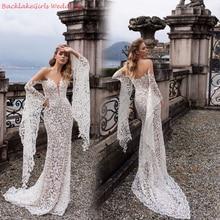 BGW сексуальное кружевное свадебное платье с v-образным вырезом и открытыми плечами с длинным рукавом Vestido De Noiva на молнии сзади, высокое качество, халат, пляжные свадебные платья