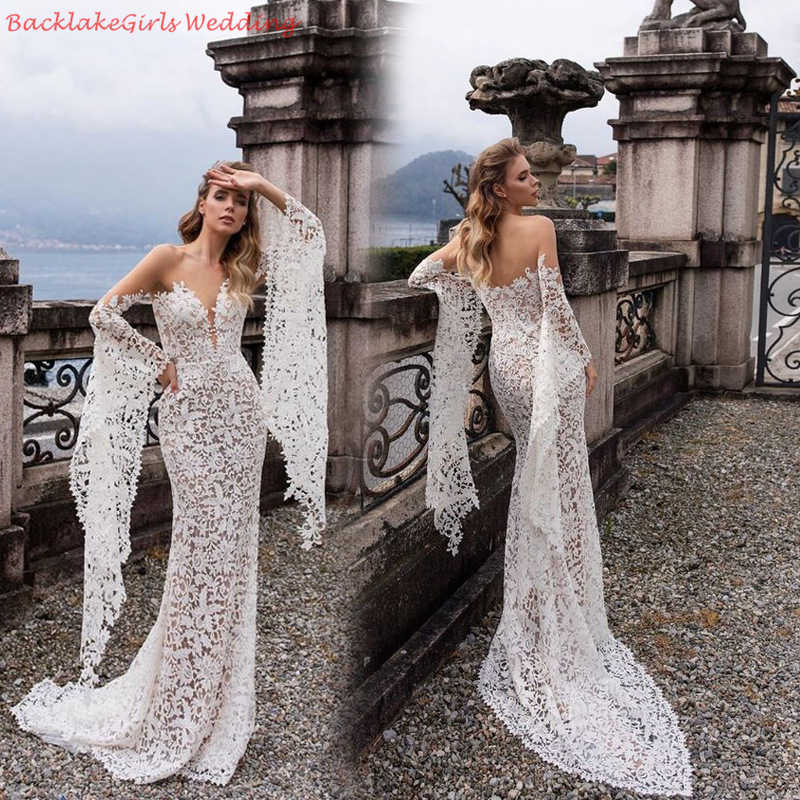 BGW Sexy V Neck Off Shoulder Full Sleeve Lace Wedding Dresses Vestido De Noiva Zipper Back High Quality Robe Beach Wedding Gowns