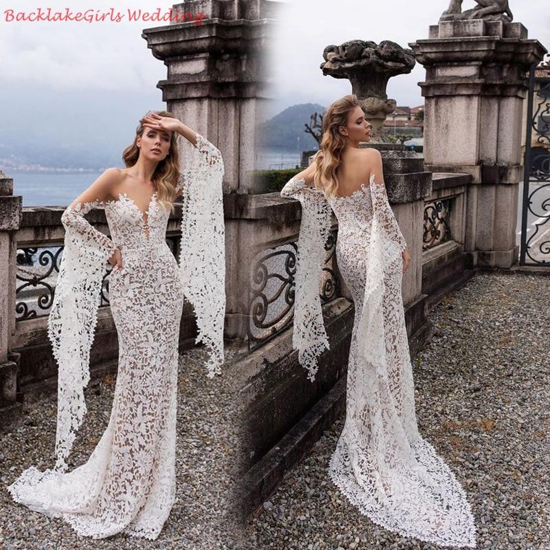 BGW Sexy V Neck Off Shoulder Full Sleeve Lace Wedding Dresses Vestido De Noiva Zipper Back High Quality Robe Beach Wedding Gowns