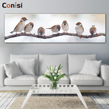 Conisi Lovely Birds Family Wall Art Canvas Paintings Bird Stand on Tree Wall Poster Home Decor Artwork Livingroom Decoration