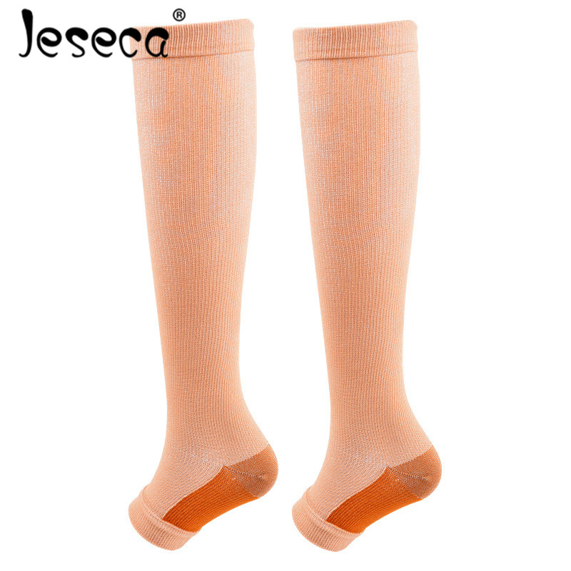 Jeseca New Unisex Sport Stockings Compression Underwear Open Toes Breathable Shaping Autumn Long Sox Pressure Circulation