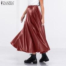 Skirts ZANZEA A-Line Elegant High-Waist Fashion Women Solid Faldas Saia Jupe Female Winter