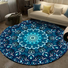 Carpet Coral Velvet Computer Chair Floor Mat Mandala Printed Round for Children Bedroom Play Tent Area Rug Blue