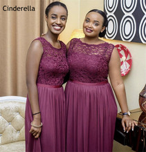 Cinderella African Burgundy Scoop A-Line Lace Chiffon Bridesmaid Dresses Floor Length Zipper Wedding Party