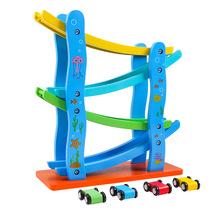 Wooden Gliding Car Track Car Toys Slot Track Car Toys Educational Model Toy for Children Boy Gifts tanie tanio Urodzenia ~ 24 Miesięcy 2-4 lat 5-7 lat Transport Car Parking Educational car toy ABS Plastics