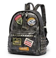 Cool Badge Medal Distressed Premium PU Leather Backpack Metal Rivet Retro Fashion Bag Street Rock Style Mochila
