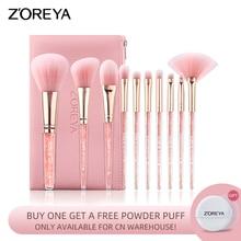 ZOREYA 10PCS Pink Crystal Foundation Makeup Brush Concealer Blusher Make Up Brush Set Super Soft Synthetic Hair Cosmetic Tools