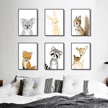 Cartoon Fox Koala Deer Rabbit Squirrel Nordic Posters And Prints Wall Art Print Canvas Painting Nursery Pictures Kids Room