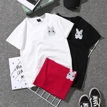 Milinsus Summer T shirt Women Cute Print Harajuku Plain Short Sleeves Female T-shirt Tee Tops Animal Pushin Couple Clothes