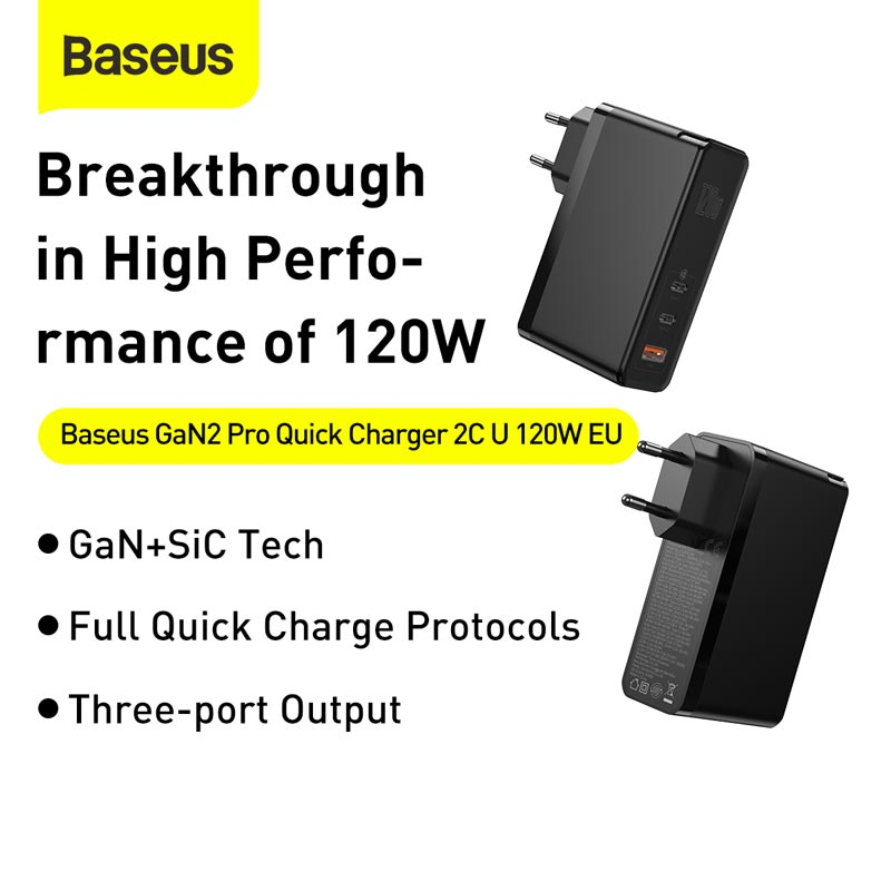 Baseus 120W GaN SiC USB C Charger Quick Charge 4.0 3.0 QC Type C PD Fast USB Charger For Macbook Pro iPad iPhone Samsung Xiaomi 2