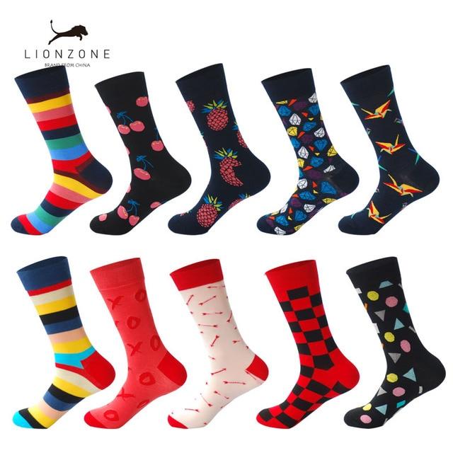 Lionzone 10 pares/lote meias engraçadas dos homens calcetines divertidos presentes para homens colorido designer marca feliz meias meias masculino