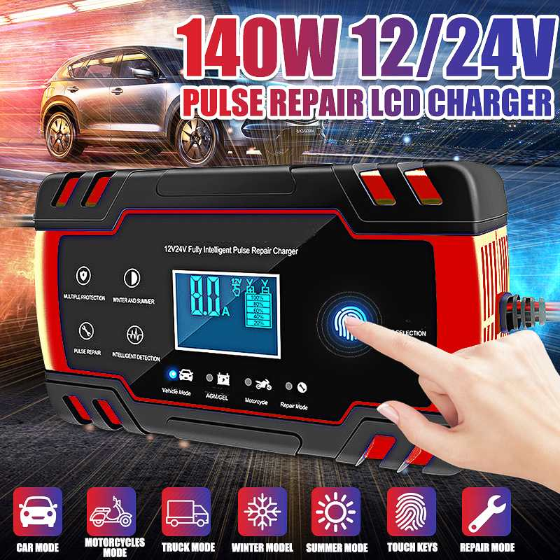 12V/24V 8A Touch Screen Full Automatic Car Battery Charger Battery Charger LCD Smart Fast  For AGM GEL WET Lead Acid Battery